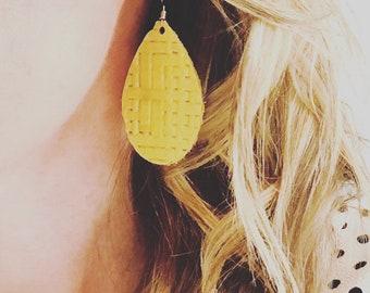 Yellow Basket Weave Leather Teardrop Earrings in mini and regular size
