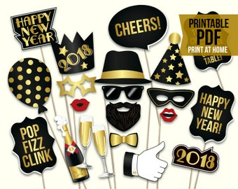 New Years Eve props: printable PDF. 2018 New Years Eve photo booth props. Black and gold party props. Instant download. Happy new year party