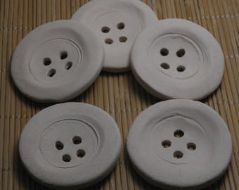 """White Handmade Ceramic Bisque Buttons 5cm (2"""") Ornaments - Decoration for Hats - Buttons for Jewelries - Craft Supplies"""