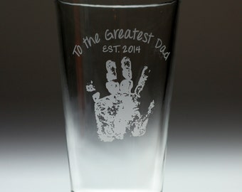Fathers day gift of Custom glass with your childs hand print with FREE option to personalize,dad gift,mom gift,granddad gift,kid to parent
