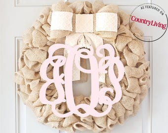 Spring Wreath With Monogram, Rustic Decor, Wreath With Bow, Initial Door Wreaths, Monogram Door Hanger, Pink Monogram, Neutral Decor