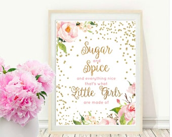 Sugar And Spice And Everything Nice,  Printable Art, Pink Baby Shower, Girls Nursery Wall Art,  Instant Download, Wall Decor