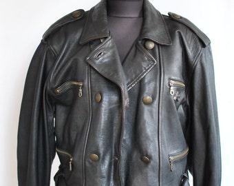 Vintage LEATHER JACKET , women's motorcycle jacket , fashion leather jacket...(042)