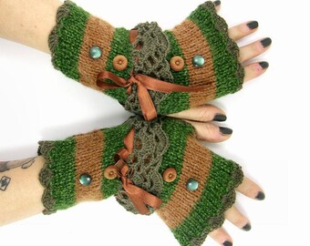 Knit fingerless gloves arm warmers fingerless mittens green brown striped texting gloves alpaca woolmix luxury yarn PiaBarileAccessories