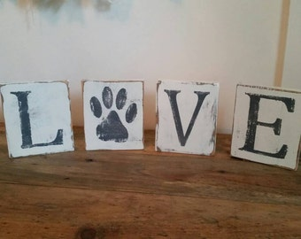 Painted and distressed Love Paw Print wall/ shelf decor