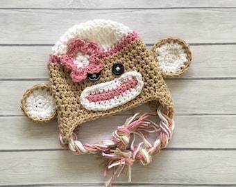 Pink sock monkey hat, sock monkey, crochet sock monkey, newborn sock monkey hat, newborn photo prop, toddler sock monkey hat, monkey hat