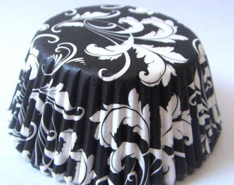 Set of 20 boxes cupcakes - floral-white/black pattern-