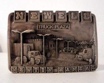 Newell Truck Plaza Belt Buckle Newton Kansas Gas Station Stop 1983 Siskiyou Limited Edition
