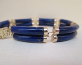Vintage Lapis Double Bar Bracelet 14k Gold