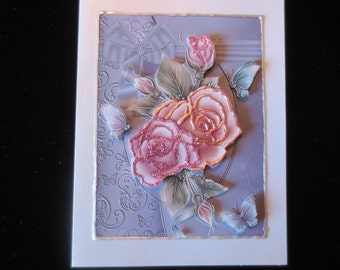 Beautiful rose and butterfly 'With Love' card