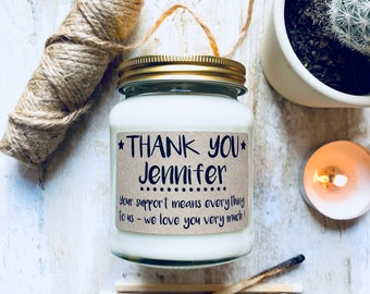 Personalised 'Thank You' Message Scented Candle , thank you gift , thanks , thank you candle , gift for a special friend , thankyou friend