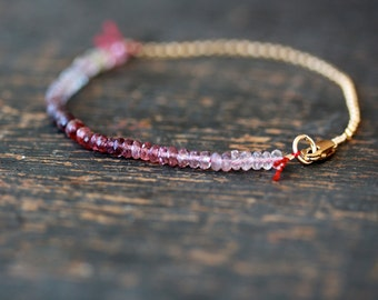 Spinel Array Beaded Bracelet, Spinel Bracelet, Ombre Gemstone Color Spectrum, 14k Gold Filled, Arm Candy, Delicate Bracelet Layering Jewelry