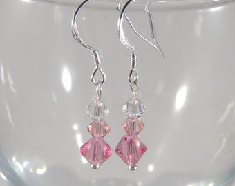 Stamped 925 sterling silver and Swarovski crystal earrings