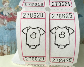 Baby Onsie Vintage Style Hand Stamped Carnival Tickets