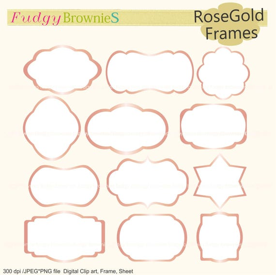 ON SALE Rosegold Frames Clipartwhite Background Framerose Gold Border A 206Outline Rose Bracket Framesscrapbooking Pink Frame From