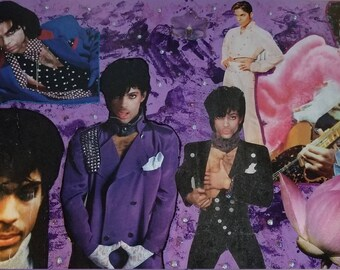 Prince Purple Decoupaged, collage Wall Art