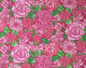 "pink floral beach twill cotton fabric square 18""x18"" ~ lilly pulitzer"