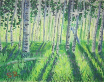 Nature Scene Forest, pastel