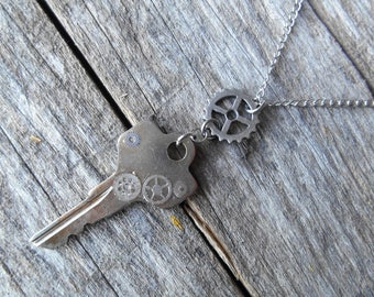 "Silver Steel Key with Gears Necklace on 25"" (64 cm) Key to My Heart, Chain, Love, Wife Girlfriend Gift, Sweetheart, Steampunk"