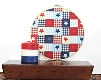 Hoop Wall Art Fabric Patriotic Stars Fourth of July Red Beige Blue Primitive Rustic Gingham Decorative Wall Decor