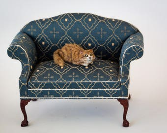 Dollhouse Miniature Orange Tabby Cat Laying Down Artist Furred Laying Down OOAK