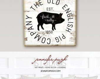 Farmhouse Old English Pig Company 12x12 Art Print -Farm, Barn, Animal, Kitchen, Living -Black White