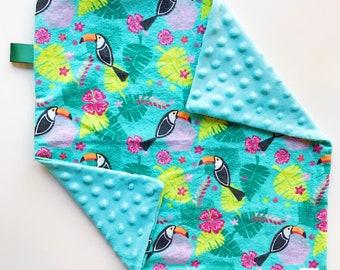 lovey blanket / minky lovey / minky blanket / baby gift / baby shower gift / toucan blanket / toucan / gift for baby