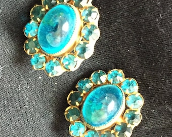 Vintage Acrylic and Crystal Earrings