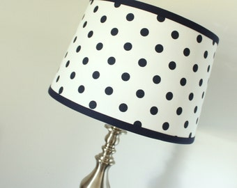 Dot lamp shade etsy large floor lamp shade navy white polka dot aloadofball Choice Image