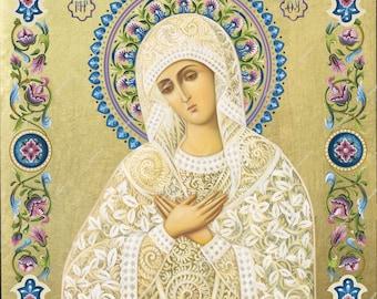 Virgin Mary Eleousa | Byzantine Christian Orthodox Icon on Wood
