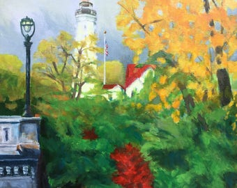 North Point Lighthouse Original Acrylic Painting on Canvas