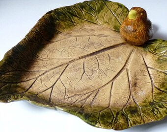 Large Clay Leaf With Bird Pottery Plateau Decorative Plate Bowl Hand Painted Vintage