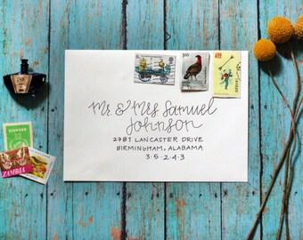 Custom Calligraphy Modern Wedding Envelopes Party Envelopes - Fancy Strokes