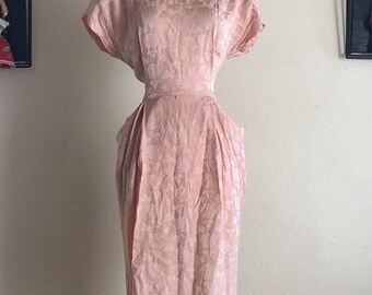 SHOP SALE Vintage 80s Does 40s Silk Pink Shirt Waist Dress with Pockets by Liz Claiborne Size Medium Large