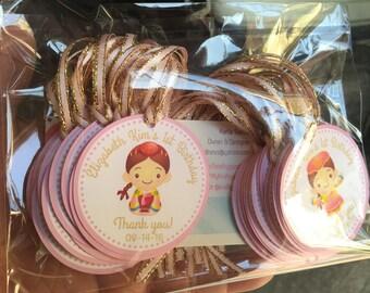 Korean Doljabi Party Favor tags, Korean Hanbok baby girl party favor tags, First Birthday party favor tags with ribbon, Korean 1st Birthday