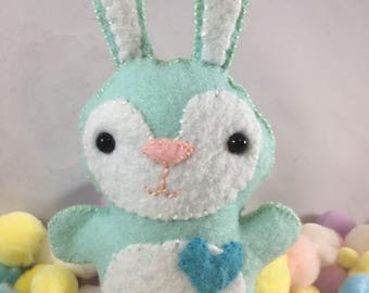 Minty Bunny with Teal Heart