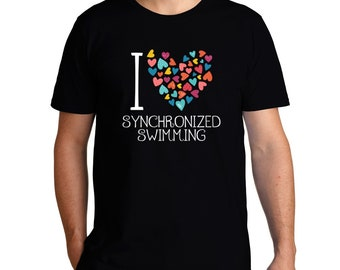 I Love Synchronized Swimming Colorful Hearts T-Shirt