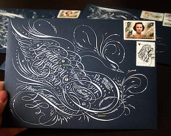 Luxury Swan Envelope Calligraphy Addressing