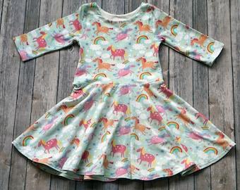 Unicorn Rainbow Dress. Horse Dress. Unicorn Dress. Baby Dress. Toddler Dress. Little Girl Dress. Twirl Dress. Twirly Dress.