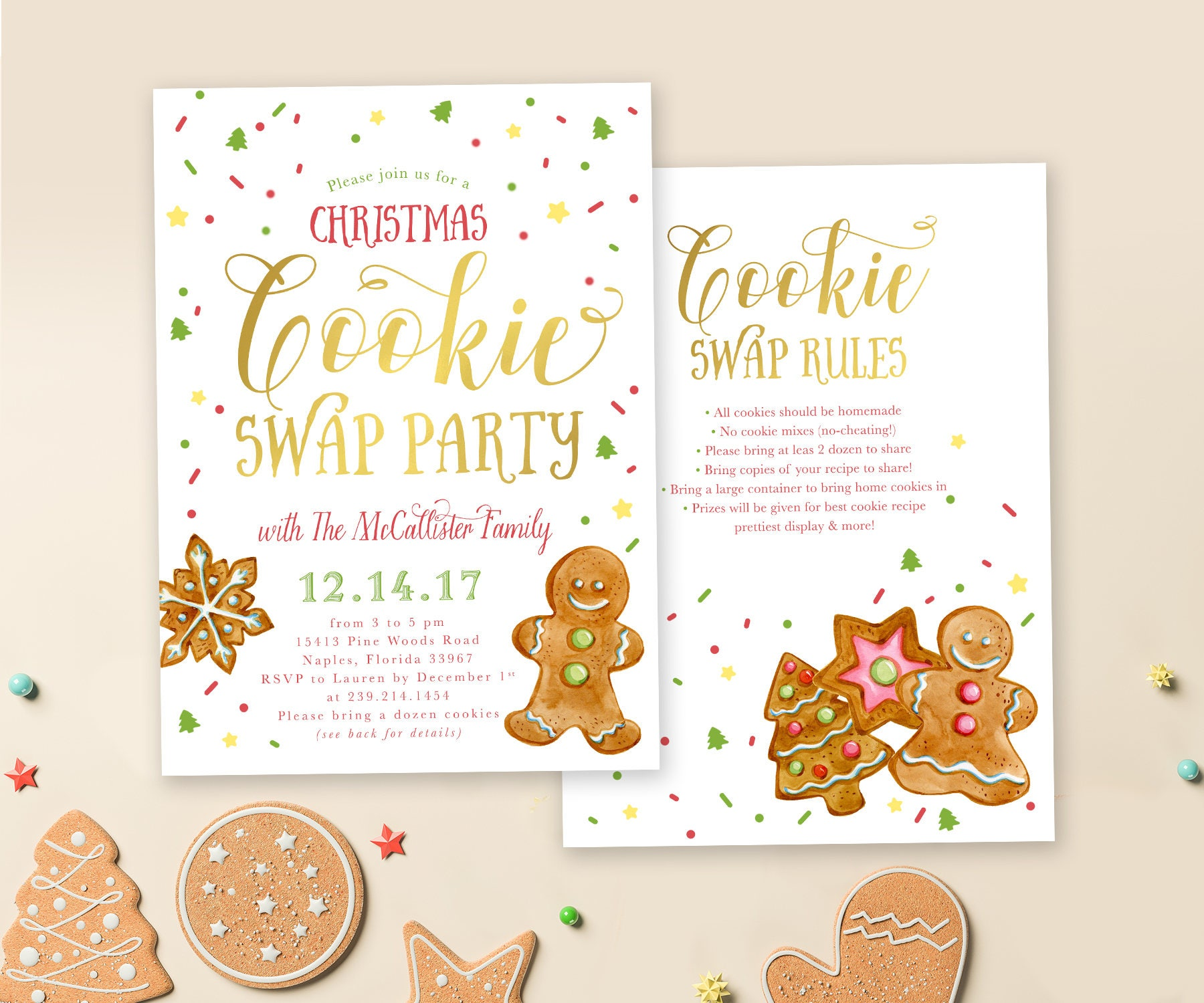 Christmas Cookie Swap Party Invitation Cookie Exchange Party
