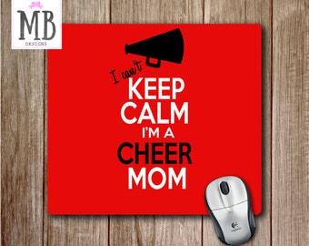 Cheer Mom Mousepad, Keep Calm Mouse Pad, Cheer Mom Decor, Cheerleading decor, Desk Accessories