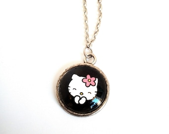 Pendant necklace cabochon 18mm cat hello kitty