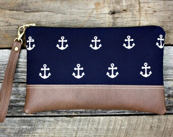 Nautical Navy Blue Clutch with White Anchors