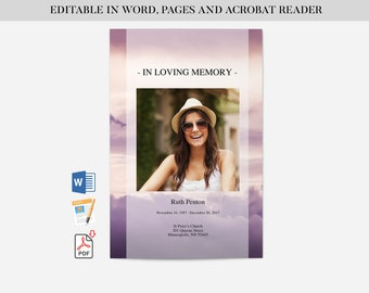 Funeral Program Template | Printable Funeral Template | Memorial Program Template | Funeral Brochure | Obituary Template | Word Pages PDF