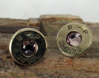 Bullet  Earrings  - June Birthstone - Ultra Thin -  Light Amethyst