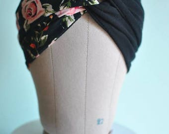 Floral and Black Twisted Knot Turban Headband