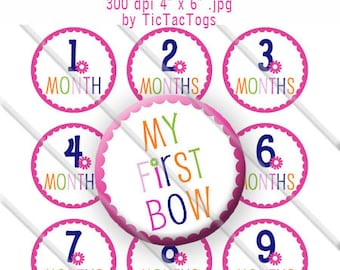 Baby Month Bottle Cap Images My First Bow 1 Inch Circles Digital JPG Colorful Scalloped Flower - Instant Download - BC500