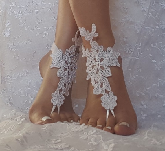 White, ivory, champagne, beach wedding barefoot sandals  shoe barefoot shoes for beach wedding bangle beach anklets bangles