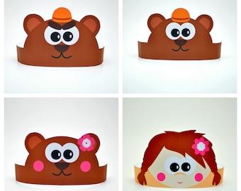 The Three Bears Paper Crowns Set. DIY cardboard crowns template set. DIGITAL