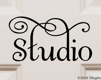 "STUDIO 6.5"" x 3.5"" Vinyl Decal Sticker - Door Sign - 20 COLOR OPTIONS - *Free Shipping*"
